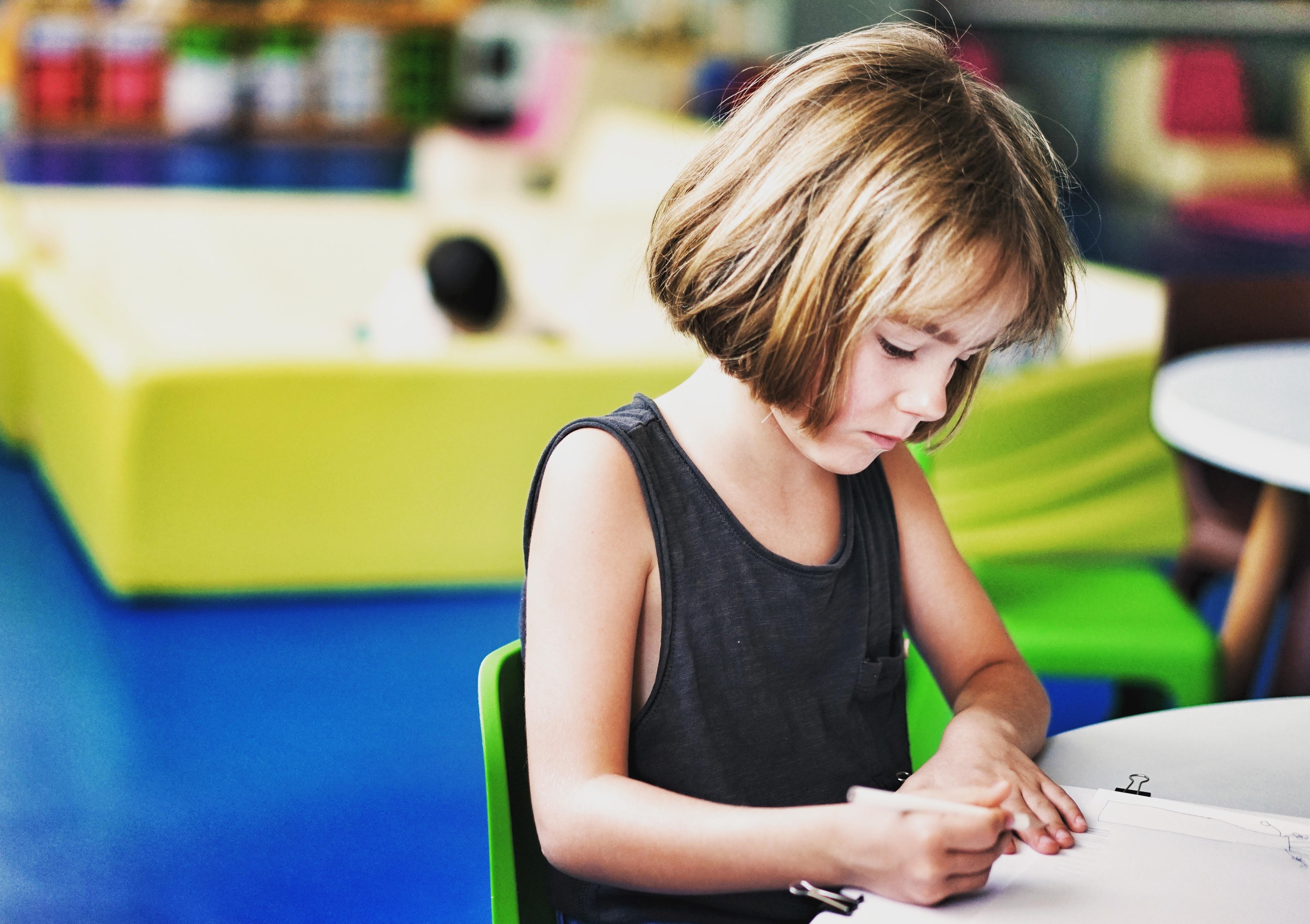 Girl Working on Math